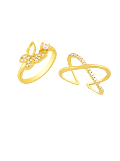 CC Brass Rhinestone Minimalist Double Cross Stackable Ring 0