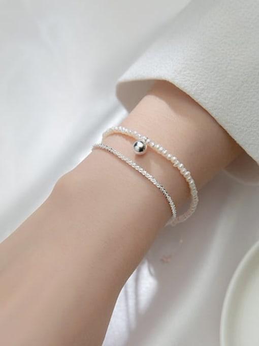 Rosh 925 Sterling Silver Imitation Pearl Round Minimalist Strand Bracelet 1