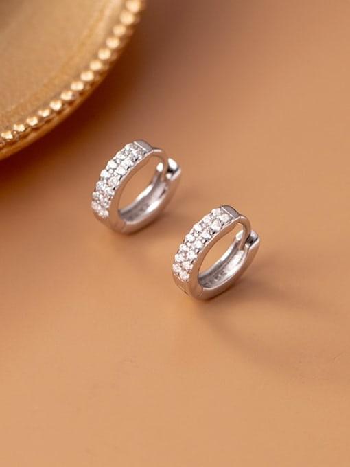 silver 925 Sterling Silver Cubic Zirconia Geometric Dainty Cluster Earring