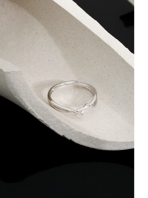 DAKA 925 Sterling Silver Irregular Minimalist Band Ring 1