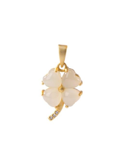 DEER 925 Sterling Silver Jade Minimalist  Clover Pendant