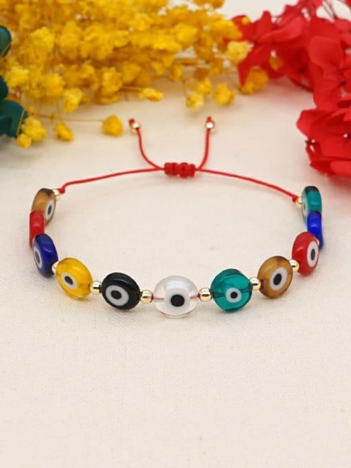 Roxi Multi Color Glass Stone  Evil Eye Bohemia Adjustable Bracelet