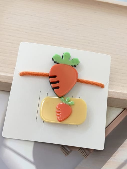 13 radish Alloy Acrylic Cute Children cartoon animal fruit Hairpin Rubber band Set