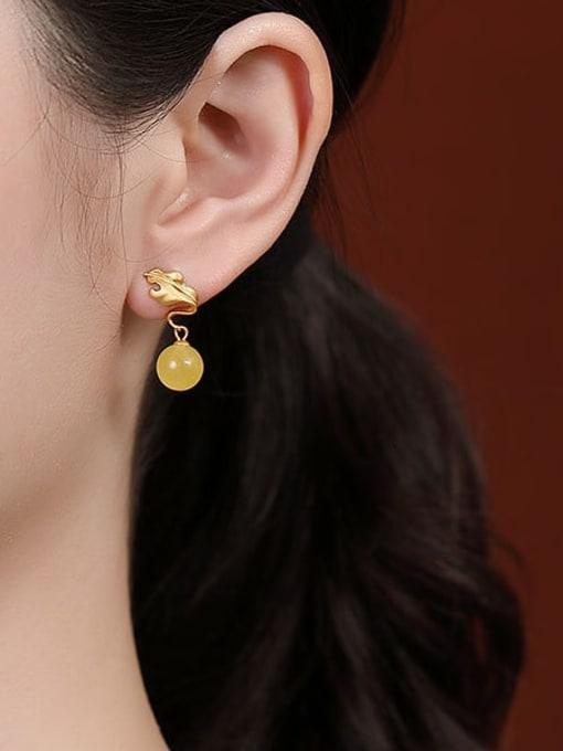 DEER 925 Sterling Silver Amber Leaf Vintage Drop Earring 1