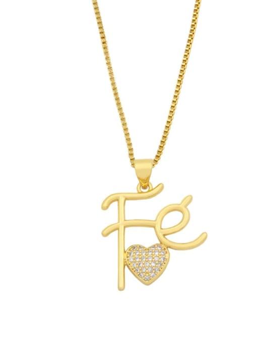 CC Brass Cubic Zirconia Letter Vintage Necklace