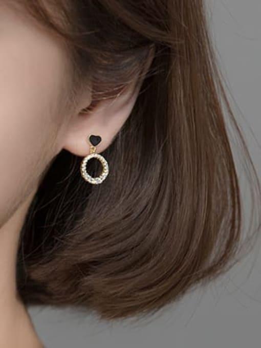 Rosh 925 Sterling Silver Cubic Zirconia Enamel Geometric Minimalist Drop Earring 1