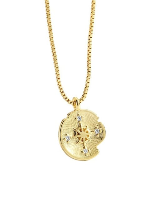 CHARME Brass Cubic Zirconia Round Vintage Meteor compass Pendant Necklace