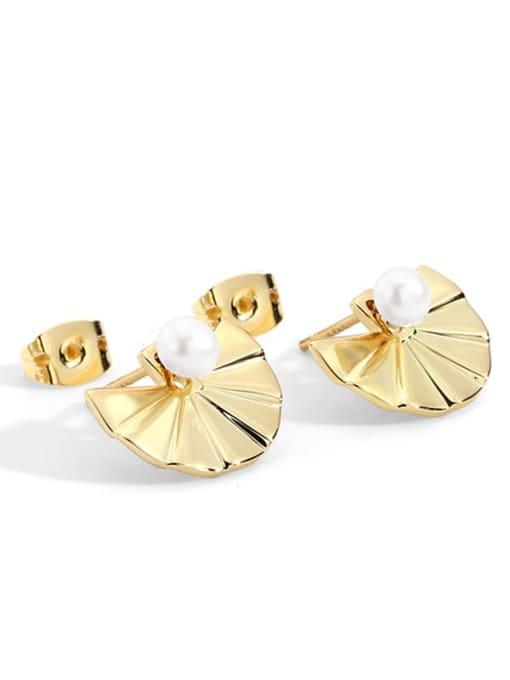 Gold sector Pearl Earrings Bronze Imitation Pearl Geometric Vintage Stud Earring