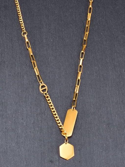 A TEEM Titanium Letter Minimalist Geometry Pendant Necklace 3