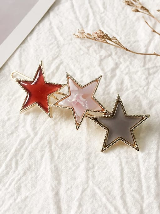 claret Alloy Cellulose Acetate Minimalist Star  Hair Pin