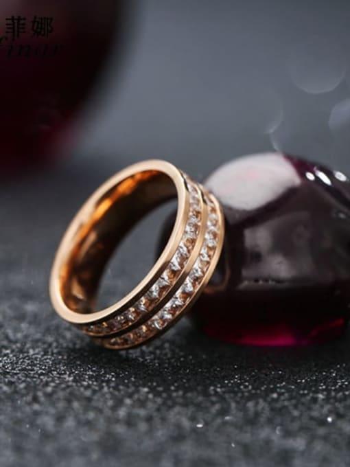Rose gold (double row) Titanium Steel Rhinestone Round Minimalist Stackable Ring