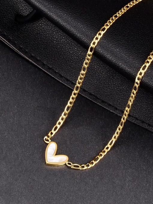 A TEEM Titanium Steel Shell Heart Minimalist Necklace 1