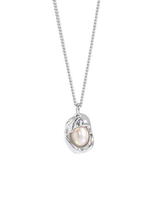 DAKA 925 Sterling Silver Imitation Pearl Irregular Vintage Necklace 3