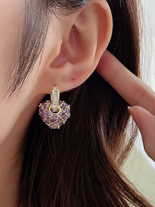 Luxu Brass Cubic Zirconia Heart Minimalist Drop Earring 1