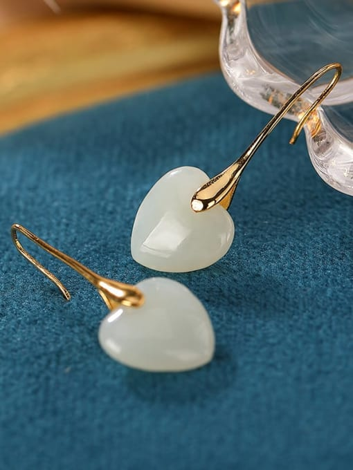 DEER 925 Sterling Silver Jade Heart Minimalist Hook Earring 1