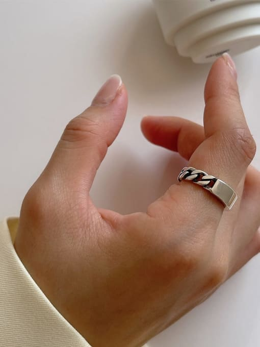 Chain ring j142 3.8g 925 Sterling Silver Hollow Geometric Vintage Band Ring