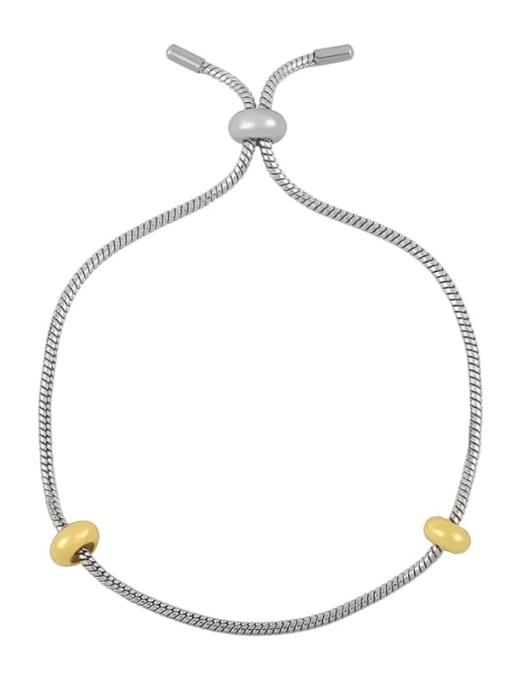 Silver Bracelet Brass Cubic Zirconia square Letter Minimalist Adjustable Bracelet