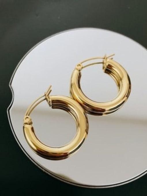 A TEEM Titanium Steel Round Minimalist Huggie Earring