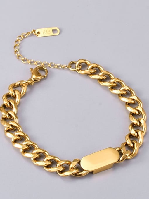 A TEEM Titanium Steel Hollow Geometric Vintage Link Bracelet 2