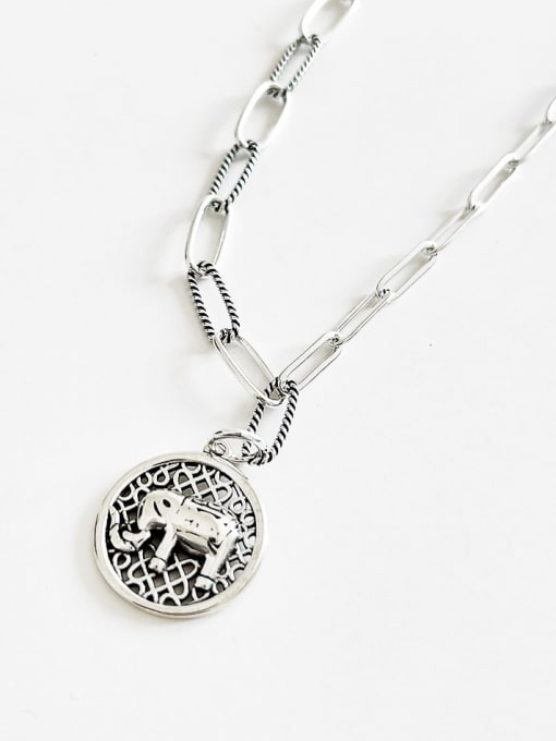 Boomer Cat 925 Sterling Silver Elephant Vintage Hollow Chain Necklace 0