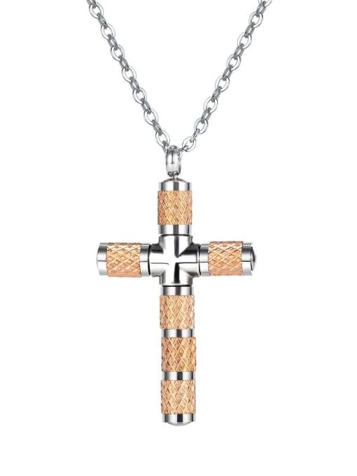1866 Rose Gold Plated Steel Necklace Titanium Steel Cubic Zirconia Cross Minimalist Necklace