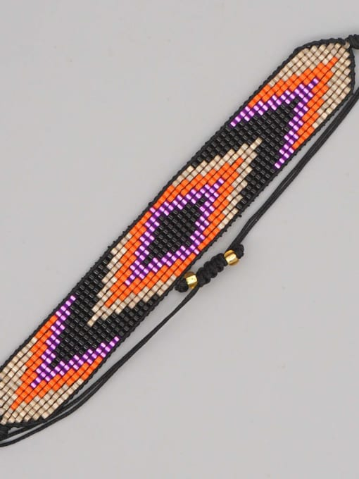 MI B200225L Multi Color Miyuki DB  Bead Geometric Artisan Handmade Weave Bracelet