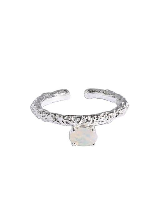 Dak Phoenix 925 Sterling Silver Opal Geometric Minimalist Band Ring 4