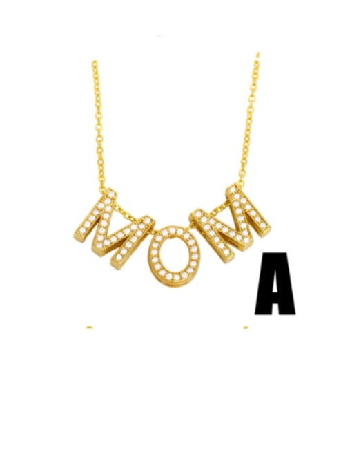 A Brass Cubic Zirconia Minimalist MOM Letter  Pendant Necklace