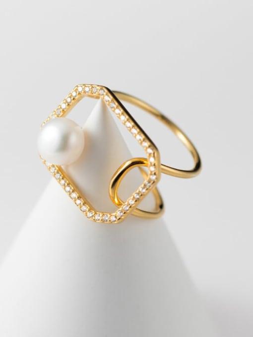 Rosh 925 Sterling Silver Imitation Pearl Geometric Minimalist Band Ring 2
