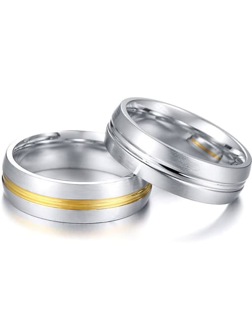 CONG Stainless steel Round Minimalist Couple Ring 2