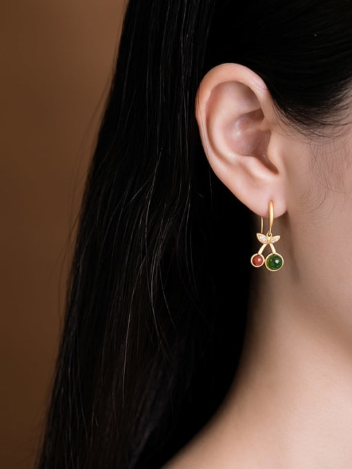 DEER 925 Sterling Silver Carnelian Friut Vintage Hook Earring 1
