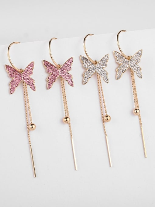 Luxu Brass Cubic Zirconia Butterfly Trend Threader Earring 1
