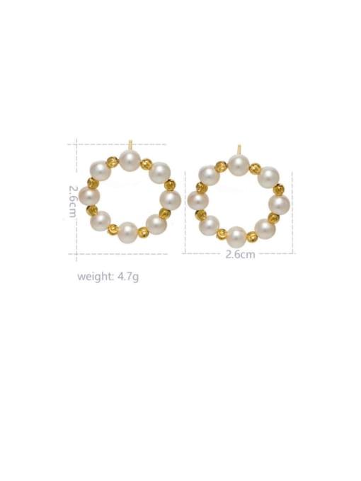 RAIN Brass Freshwater Pearl Geometric Vintage Stud Earring 1