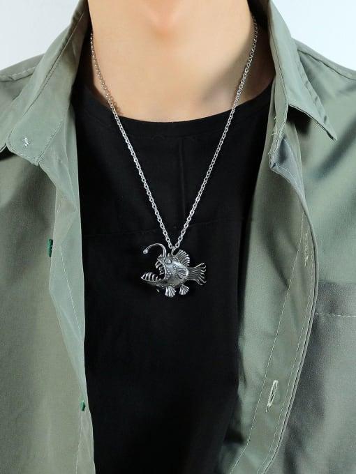 Open Sky Titanium Steel Fish Vintage Necklace 1