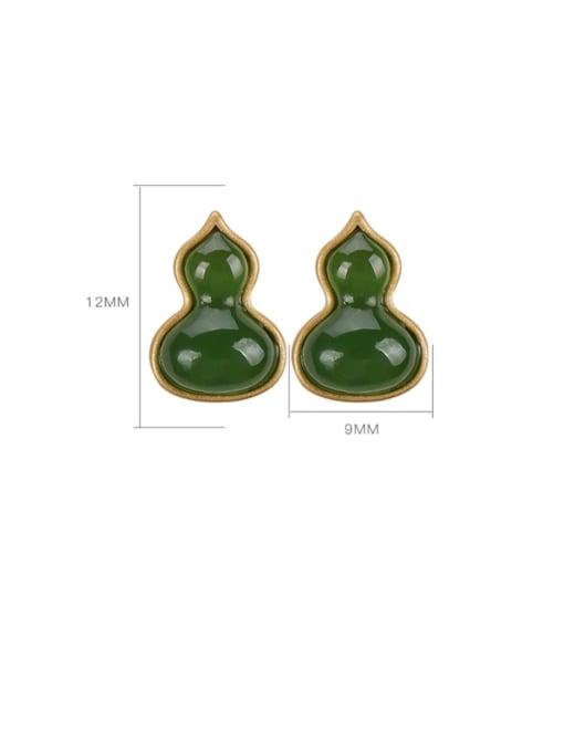DEER 925 Sterling Silver Jade Irregular gourd Vintage Stud Earring 2
