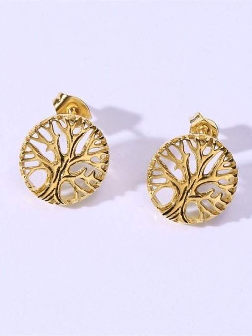 CONG Stainless steel Tree Hip Hop Stud Earring 1