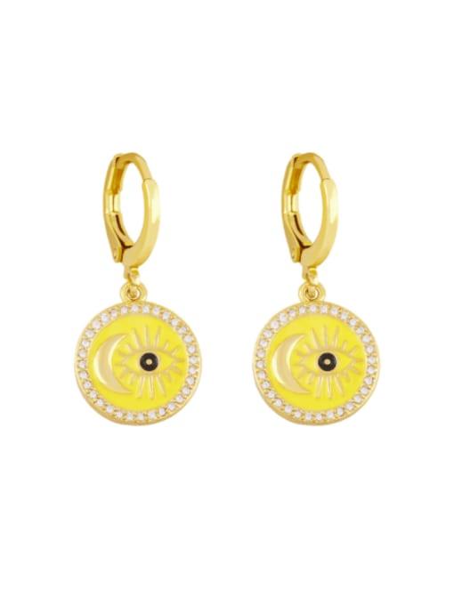yellow Brass Enamel Evil Eye Vintage Huggie Earring