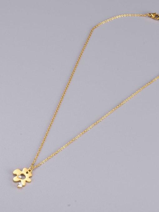 A TEEM Titanium Steel Hollow Flower Minimalist Necklace 2