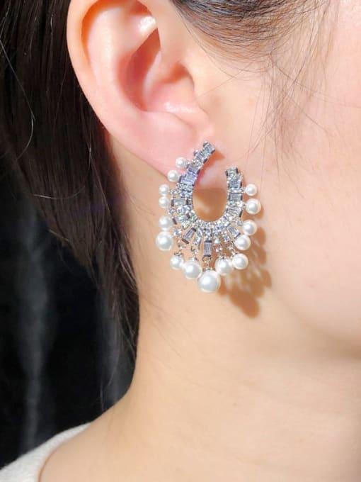 L.WIN Brass Cubic Zirconia Geometric Statement Stud Earring 2