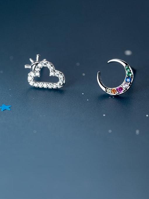 Rosh 925 Sterling Silver Cubic Zirconia  Asymmetry Moon Cute Stud Earring