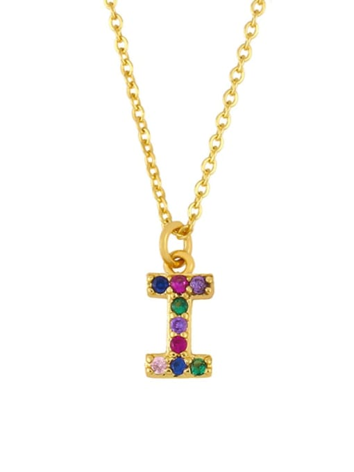 I Brass Cubic Zirconia Letter Vintage Necklace
