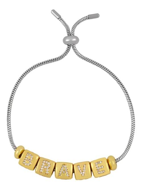CC Brass Cubic Zirconia square Letter Minimalist Adjustable Bracelet 1