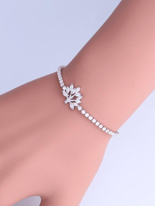 CC Brass Cubic Zirconia Tree Minimalist Adjustable Bracelet 1