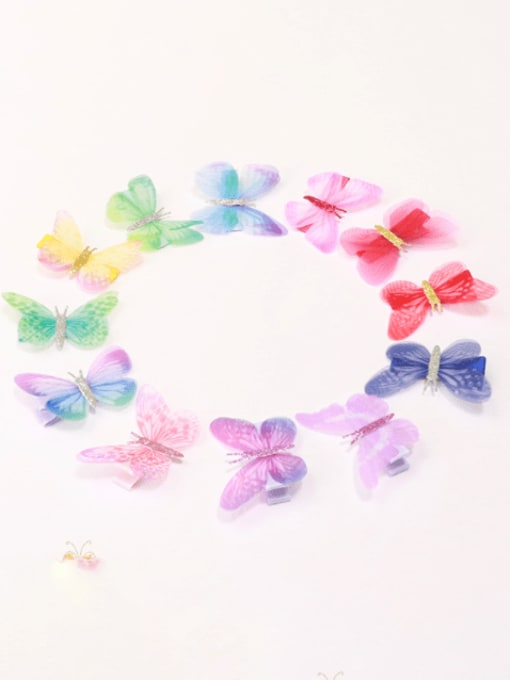 13#  12PCS ,opp Alloy Fabric Cute Butterfly  Multi Color Hair Barrette