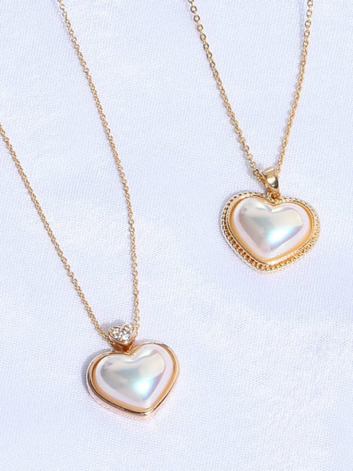 Zircon love Brass Imitation Shell Pearl Geometric Minimalist Necklace
