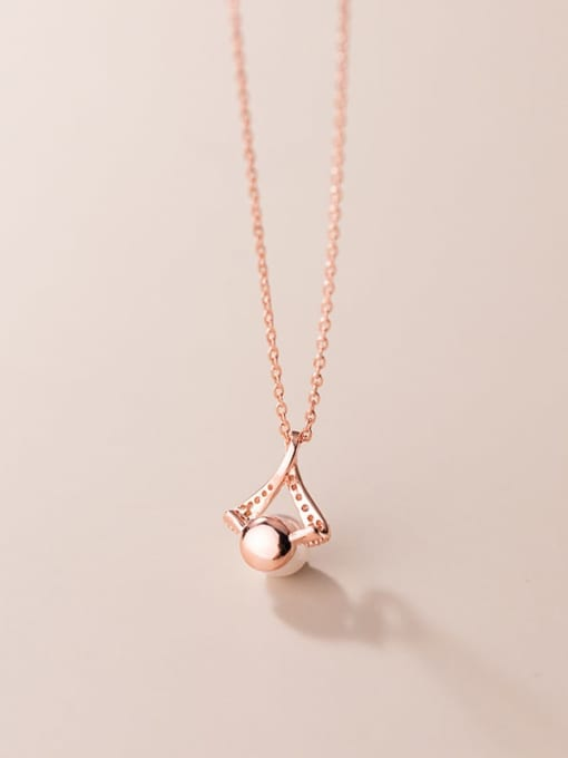 Rosh 925 Sterling Silver Imitation Pearl Triangle Minimalist Necklace 4