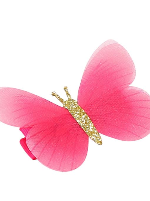 7 Alloy Fabric Cute Butterfly  Multi Color Hair Barrette