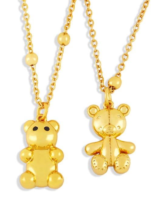 CC Brass Cute Smooth Bear  Pendant Necklace