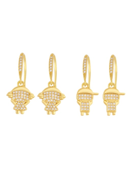 CC Brass Cubic Zirconia Angel Boy Vintage Huggie Earring