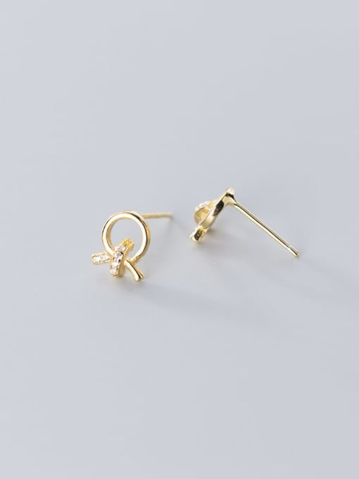 Rosh 925 Sterling Silver Rhinestone Bowknot Minimalist Stud Earring 1